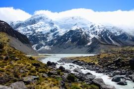 Mueller Lake, Hooker Valley, Wyspa Południowa, Nowa Zelandia